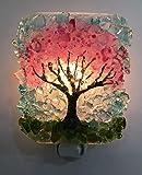 Spring Cherry Blossom Tree Recycled Glass Art Night Light Nightlight, Nitelite, Nite Lite Home Gift