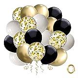 Ballon Noir Confettis Or, 50 piè...
