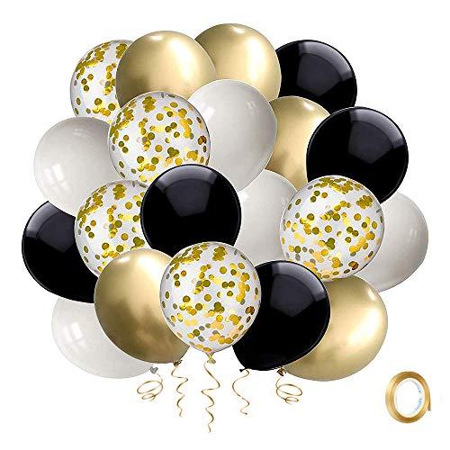 YMSZ Palloncini Oro e Neri, 50 Pezzi Palloncino Coriandoli Festa in Lattice Bianco da 12 Pollici con Nastro Dorato per Decorazioni per la Doccia per Bambini di Compleanno