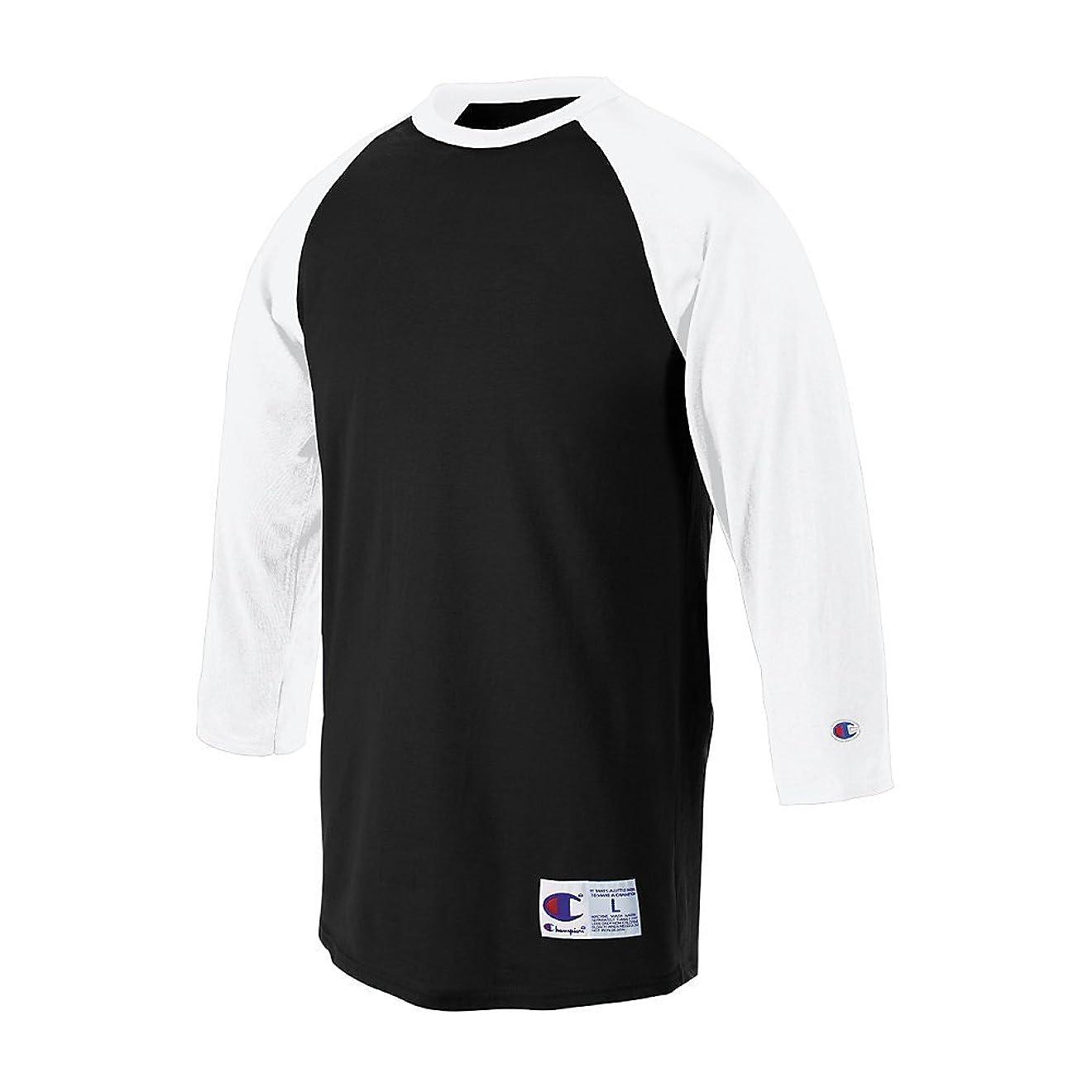 支払いポータブルさせるChampionラグランベースボールTシャツ_ブラック/ホワイト_ 3?x l