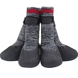 Mihachi Chaussettes pour Chien-Protecteurs de Pattes antidérapant avec Sangles Velcro Traction Control pour intérieur et extérieur