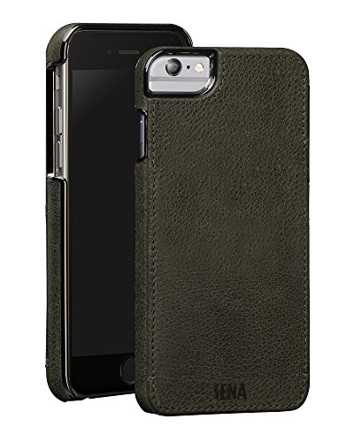 Sena Lugano Heritage Leather Snap On Wallet Cell Phone Case for iPhone 6 Plus - Wireless Charging Compatible, Sage