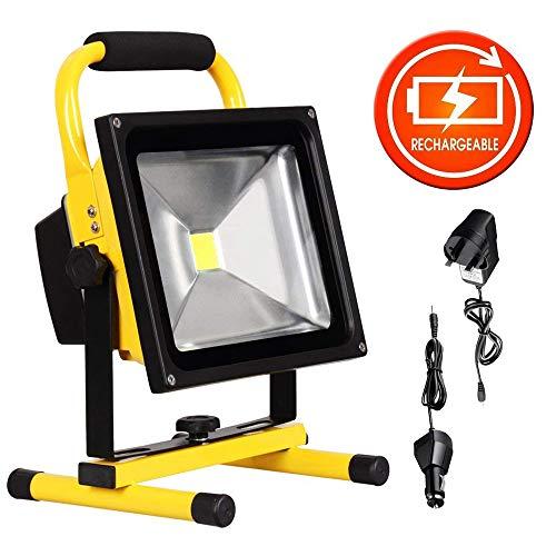 Lighting Ever - Luce da lavoro portatile, a LED, resa 100 W, lampadina alogena, 1200 lumen, adattatore e caricatore per auto inclusi, impermeabile, adatta ad uso esterno, Yellow, 20 W 20 watts