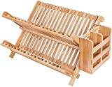 HBlife Dish Rack, Bamboo Folding 2-Tier Collapsible Drainer...