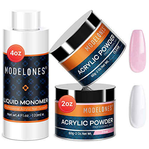 Modelones 2 Colors 2oz Acrylic Powder + 4oz Liquid Monomer Professional Acrylic Powder Set Crystal Clear and Lovely Pink Acrylic Powder for Nail Extension Acrylic Nails MMA Free Liquid