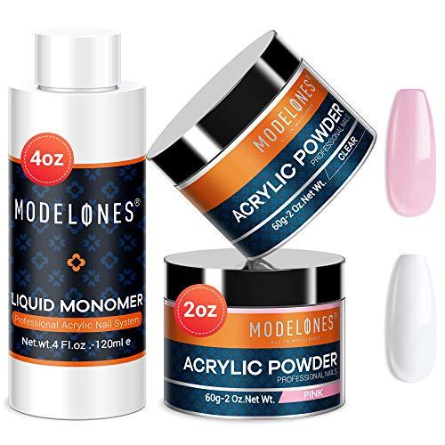 Modelones 2 Colors 2oz Acrylic Powder + 4oz Liquid Monomer Professional Acrylic Powder Set Crystal Clear and Lovely Pink Acrylic Powder for Nail Extension Acrylic Nails MMA Free Liquid