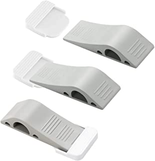 Door Stop Wedges, 3 Pack Rubber Door Stoppers with Holders, Stackable and Slip-Resistant for Tiles, Carpet, Wood and Lamin...