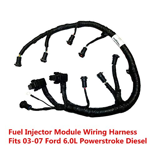 FICM Engine Fuel Injector Complete Wire Harness - 5C3Z9D930A - Compatible with for Ford Powerstroke 6.0L Diesel 2003, 2004, 2005, 2006, 2007 F250 F350 F450 F550 Excursion -Black