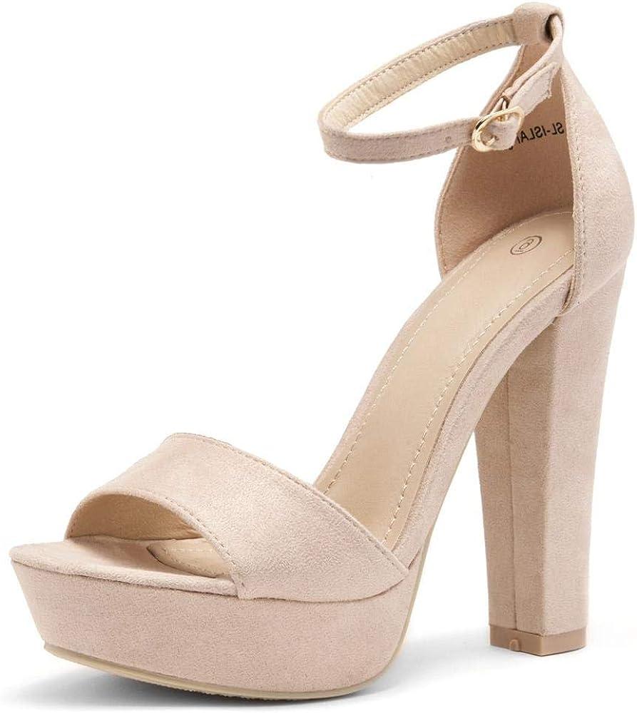 HerStyle ISLAND Women's Open Toe Ankle Strap Chunky Platform Dress Heel Sandal