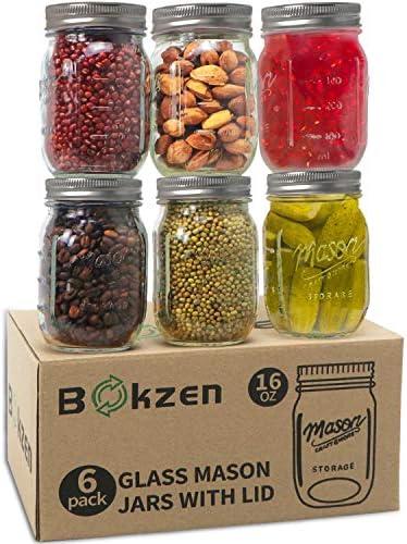 16 oz Mason Jar with Lid and Band 6 pack Airtight Glass Regular Mouth Bulk Mason Jars for Dry product image