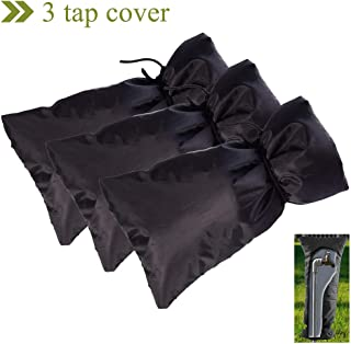 RIYIFER 210D 3pcs Garden tap Cover Oxford Fabric Waterproof Resistant to Tear Frost Protector Insulation Covers for The Winter Outside Tap Cover 18x15CM-Black
