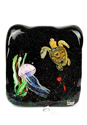 Aquarium Skulptur aus Murano Glas Schildkröte und Quallen Murano Glas