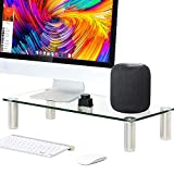 FITUEYES Glass Desktop Stand Computer Monitor Riser for Single Monitor+Laptop or Desktop DT106006GC