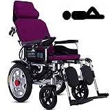 FXDCQC Silla de Ruedas eléctrica, Plegable, Completamente automática, para Personas Mayores y discapacitadas, Color Lila