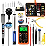 Distianert 19PCS Electric Soldering Iron Kit, 60W Digital LED Tin Soldering Iron, Adjustable Temperature with Digital Multimeter, Stand, Soldering Wire, Desoldering Pump for Repair