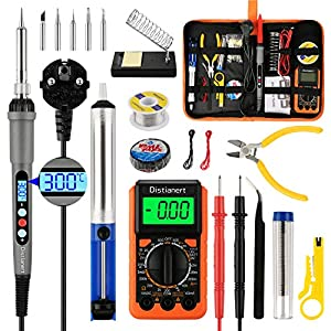 Distianert Kit de Soldador Eléctrico 19PCS, 60W Soldador Estaño LED Digital, Temperatura Ajustable con Multímetro…