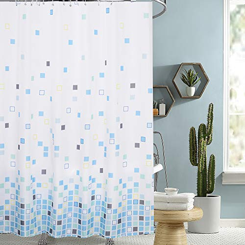 i@HOME Duschvorhang Anti-Schimmel Wasserabweisend Waschbar Anti-Bakteriell Duschvorhäng aus Polyester Badvorhang(Blaues Quadrat,180x200cm)