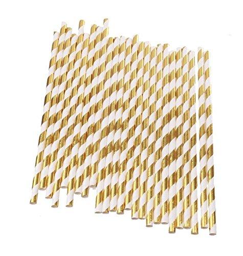 Hemore Papier Trinkhalm Biologisch Papier Stroh Gold [25 Stück] Für Hochzeiten, Geburtstage, Baby-Duschen, Taufen, Verlobungen, Graduierung, Jubiläen, Neue Jahre, Feiertage, DIY usw. Strohhalme