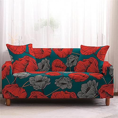 Funda para Sofá Elasticas 1 Plazas 90-140 Cm,Impresión 3D Universal Funda Cubre Sofas,Antideslizante Protector Cubierta de Muebles con 2 Funda de Almohada - Amapolas Rojas, Verde Oscuro