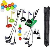 Bambini portatili Set di mazze da golf colorate Simulazione di giocattoli Tappetino di paglia Pratica di golf Sport con la palla Gioco di golf all'aperto per bambini al coperto e all'aperto con zaino