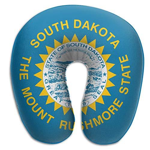 Almohada de viaje en forma de U Bandera del estado de Dakota del Sur Adultos Estudiantes Almohada Travell transpirable en forma de U Cabeza linda Almohada de apoyo para el cuello Cojín de espuma visc