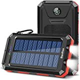 Solar Charger, 20000mAh Portable Solar Power Bank Waterproof External Backup Battery with 2 LED Flashlight,Carabiner and Compass, Compatible with All Smartphone