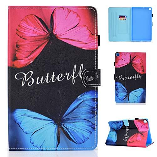LMFULM® Hülle für Samsung Galaxy Tab S6 Lite / P610N (10,4 Zoll) PU Lederhülle Smart Hülle Tasche mit Ständer Schutzhülle Flip Cover Schmetterling Zwei