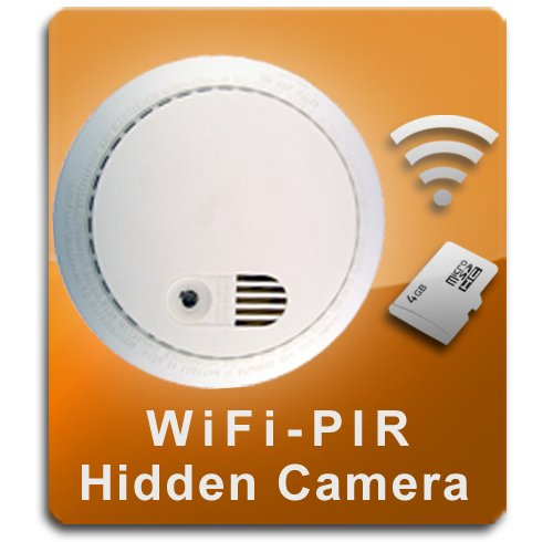 PalmVID WiFi PIR Smoke Detector Hidden Camera Spy Camera with Live Video Viewing