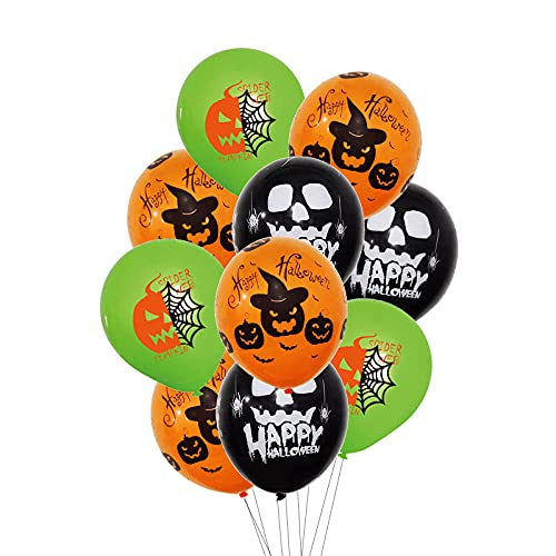 50 globos de látex natural, globos de decoración de Halloween, globos de fiesta divertidos, 3 patrones de Halloween, Halloween, cumpleaños, fiesta, clase, suministros de decoración de juguete.