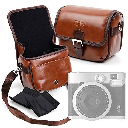 DURAGADGET Bolsa Profesional marrón con Compartimentos para Cámara Fujifilm Instax Mini 90 Neo Classic Tamaño Mediano.