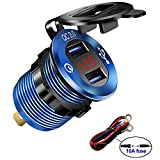 iMESTOU Aluminium Car Charger Quick Charge 3.0 Dual USB Phone Chargers Socket Waterproof USB Power Outlet with Voltmeter 10A Fuse for 12V/24V Automotive Boat Marine Bus Truck ATV UTV(Blue)
