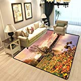 Apartment Decor Kids Living Room Carpet Bohemian Old Town Scenery by The River with Gothic Buildings in The Fall Sunset Sky Children Playing with Non-Slip Carpet Pink Orange W4xL5 Feet