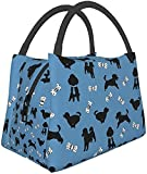 Bolsa de almuerzo Happy Poodle Blue Lunch Box Bolsa de comida Bolsa de aislamiento portátil con cremallera Paquete