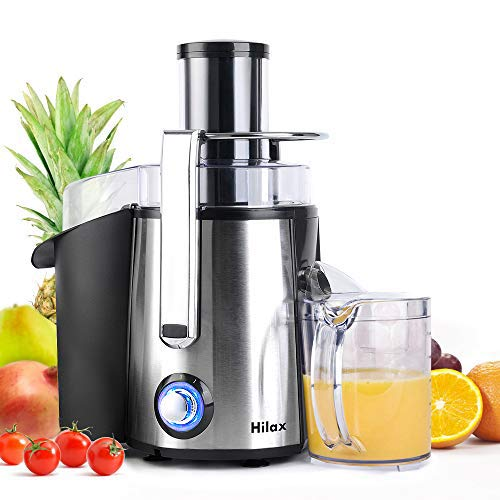 Centrifugal Juicer Machine - Juice Maker Extractor,Juice Processor Fruit and Vegetable,Easy to Clean Stainless Steel Power Juicer,Dual Speed,Big Mouth 3 Inches Feed Chute,Anti-drip,BPA Free (Silver)