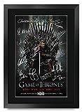 HWC Trading Foto de autógrafo Impreso de Game of Thrones The Cast Gifts para los Fans de la TV Memorabilia – A3 Enmarcado