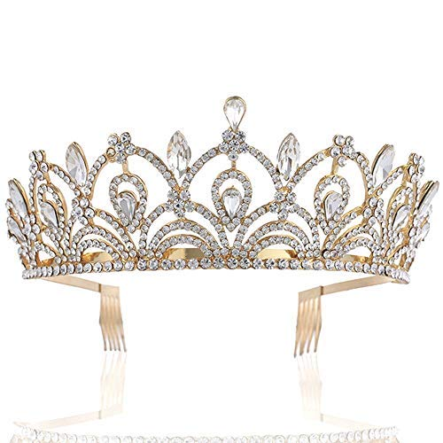 Sppry Women Tiara with Comb - Queen Crystal Crown for Bridal Girls at Wedding Prom Birthday Party, Gold