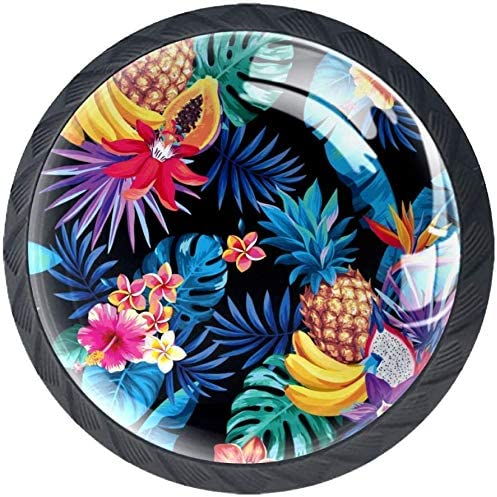 4 Pack Round Cabinet Hardware Knob Fruits Tropical a Limited price sale Free Shipping Cheap Bargain Gift Leaves Palm