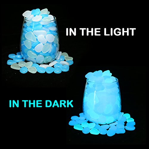 UNIME Glow in The Dark Garden Pebbles Stones Rocks for Yard and Walkways Decor, DIY Decorative Luminous Stones in Blue (200 PCS)