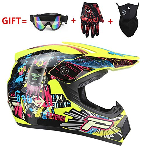 CSJD motorcross helm, vier seizoenen universele volwassen motorfiets off-road helm, mannen en vrouwen cross-country motorfiets ski beschermende helm, handschoenen masker bril (Set van 4)