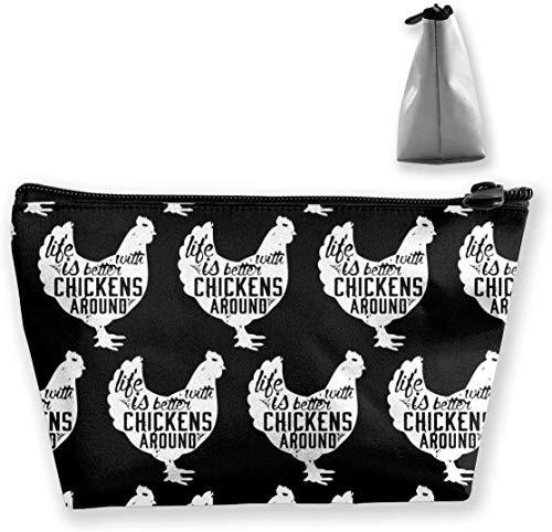 Petit sac de maquillage pour femme, sac à cosmétiques adorable, sac de rangement multifonctionnel de grande capacité, organisateur de cas de voyage de toilette - poulet
