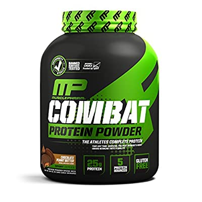 Muscle Pharm Combat Protein Powder, Essential Whey Protein Powder, Isolate Whey Protein, Casein and Egg Protein with BCAAs and Glutamine for Recovery, Chocolate Peanut Butter, 4-Pound, 52 Servings