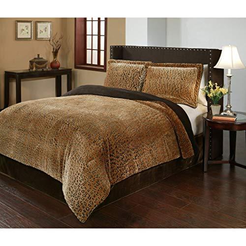 3 Piece Queen Dark Brown Velvet African Comforter Set, Reversible Comforter, Cheetah Printed Design, Casual Style, Fancy Luxury Bedding, Modern Pattern for Master Bedrooms, Light Black And Golden