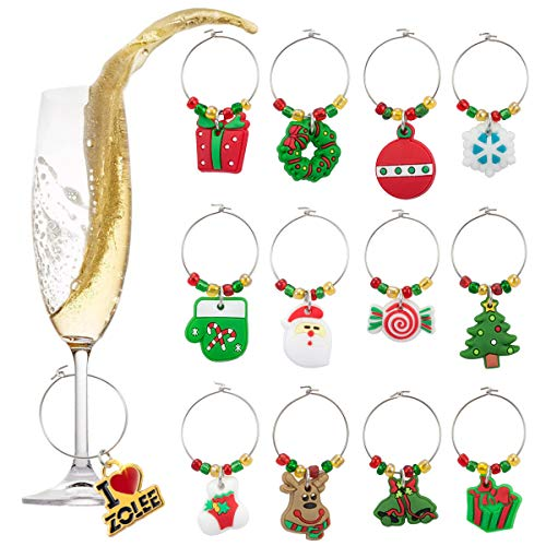 Zolee Christmas Wine Glass Charms Rings, Set of 12 Soft PVC with Simple Buckle Design - Glass Goblet Drink Markers, Great for Party, Wedding, Gathering, Favors Decoration and Supplies