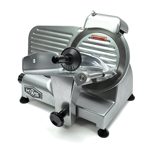 KWS Premium 200w Electric Meat Slicer 6' Frozen Meat Deli Slicer Coffee Shop/restaurant and Home Use Low Noises (Silver)