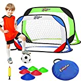 KiddoZone Portable Pop Up Soccer Goals Set,48' x 29'Folding Soccer Nets with Carrying Bag Pump Training Cones, Backyard Indoor Training Soccer Goal for Kids & Adults