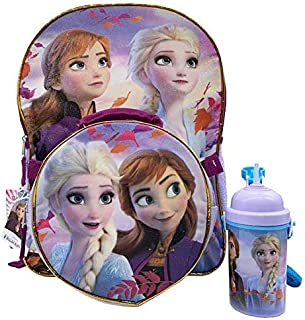 FROZEN BACKPACK FOR GIRLS - A 16 inches Frozen 2 backpack With Lunch bag and Bottle of water Set of 3