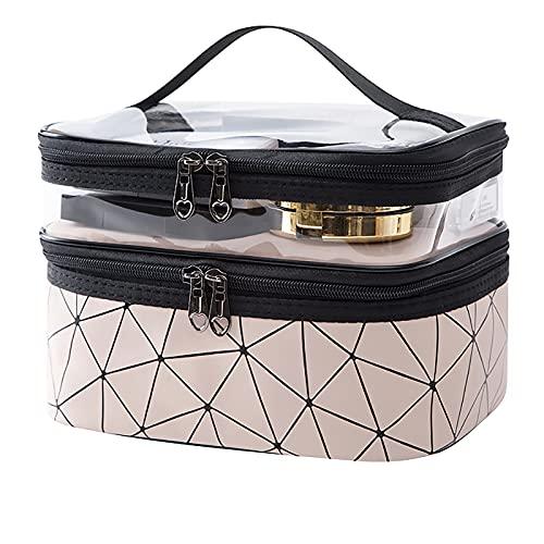 Makeup Bag Cosmetic Bag Double Layer Travel Makeup Organizer Bag For Women (Pink)