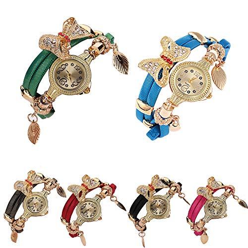 CdyBox Popular Bow Bracelet Diamond Watch Women Fashion Quartz Wristwatch 6 Pack