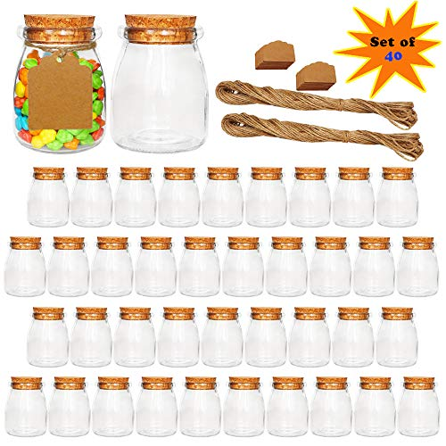 Ritayedet Glass Favor Jars, 7 oz Glass Jars with Cork lids, Small Glass Bottles with Extra Strings and Labels,Set of 40