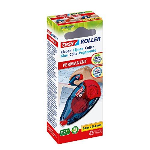tesa Roller Kleben Permanent ecoLogo - Nachfüllbarer Kleberoller mit reißfestem Band & doppelseitigem Klebefilm - lösungsmittelfrei - 14 m x 8,4 mm